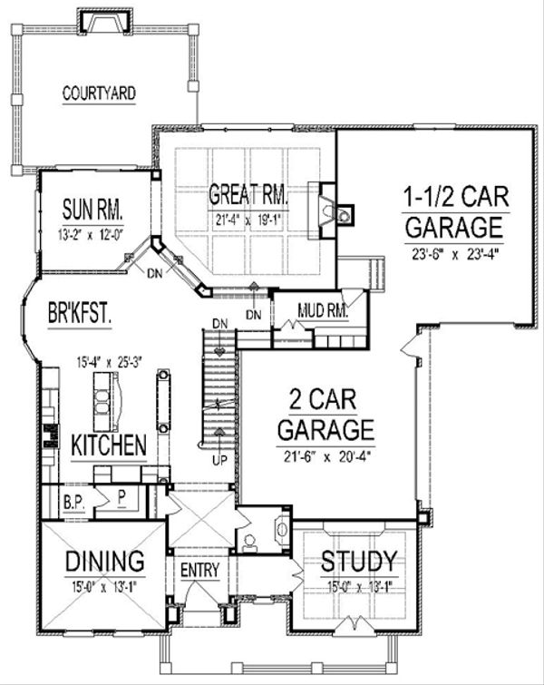 European Floor Plan - Main Floor Plan #458-17