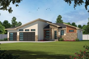 House Blueprint - Contemporary Exterior - Front Elevation Plan #20-2461