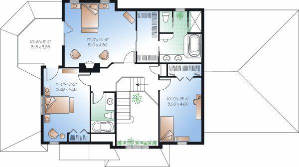 Traditional Floor Plan - Upper Floor Plan Plan #23-872