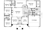 Mediterranean Style House Plan - 4 Beds 3 Baths 2089 Sq/Ft Plan #417-191 Floor Plan - Main Floor Plan