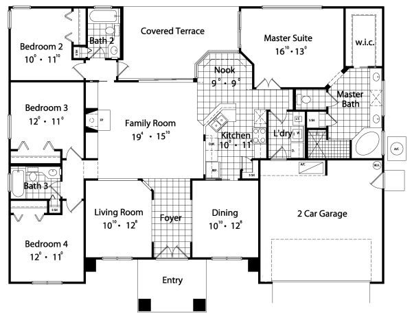 Mediterranean Floor Plan - Main Floor Plan Plan #417-191