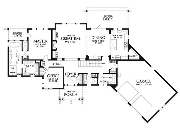 Craftsman Floor Plan - Main Floor Plan Plan #48-942