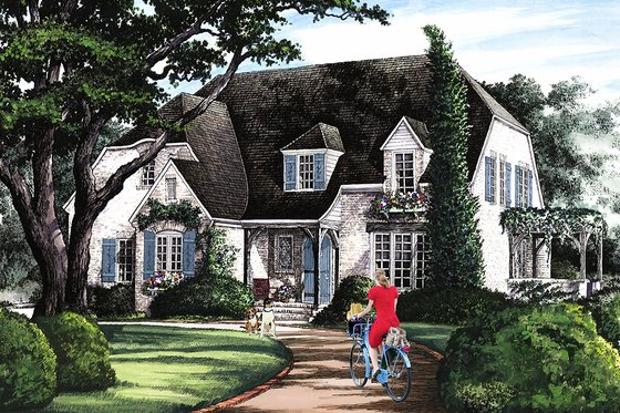 Cottage Exterior - Front Elevation Plan #137-289