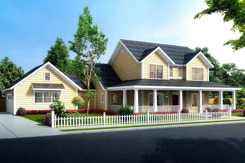 Farmhouse Style House Plan - 4 Beds 3 Baths 1938 Sq/Ft Plan #513-2184 Exterior - Front Elevation