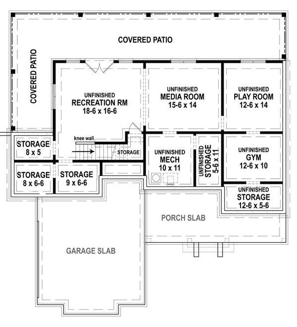 Dream House Plan - Farmhouse Floor Plan - Lower Floor Plan #119-433
