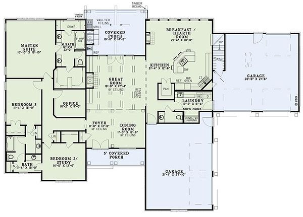 European Floor Plan - Main Floor Plan Plan #17-2539