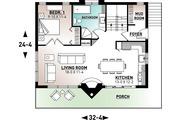 Modern Style House Plan - 3 Beds 2 Baths 1086 Sq/Ft Plan #23-2023 Floor Plan - Main Floor