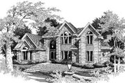 European Style House Plan - 4 Beds 3.5 Baths 3127 Sq/Ft Plan #329-105 Exterior - Front Elevation