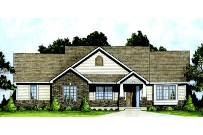 Dream House Plan - Craftsman Exterior - Front Elevation Plan #58-204