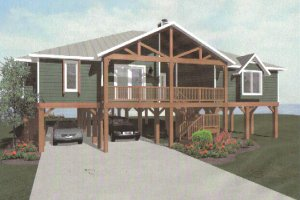 Architectural House Design - Beach Exterior - Front Elevation Plan #14-252