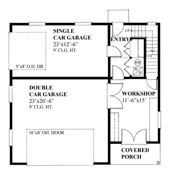 Dream House Plan - Cottage style Garage with living space house plan, main level floor plan