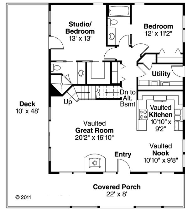 Cottage Floor Plan - Main Floor Plan Plan #124-473