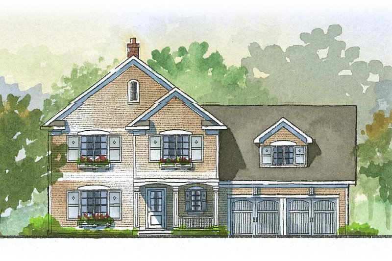 Traditional Style House Plan - 3 Beds 2.5 Baths 2728 Sq/Ft Plan #901-52 Exterior - Front Elevation