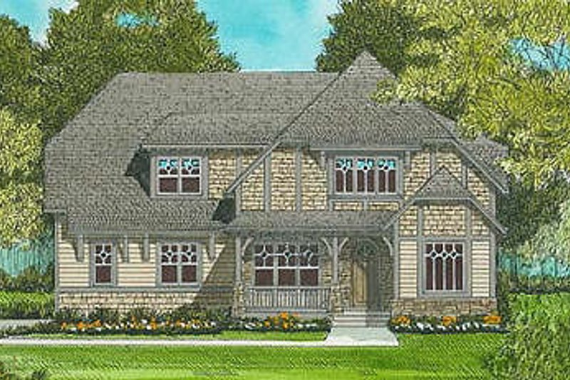 Craftsman Style House Plan - 4 Beds 3 Baths 3134 Sq/Ft Plan #413-102 Exterior - Front Elevation