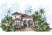 European Style House Plan - 3 Beds 2.5 Baths 2931 Sq/Ft Plan #27-444 Exterior - Front Elevation