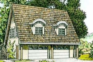 Cottage Exterior - Front Elevation Plan #140-106