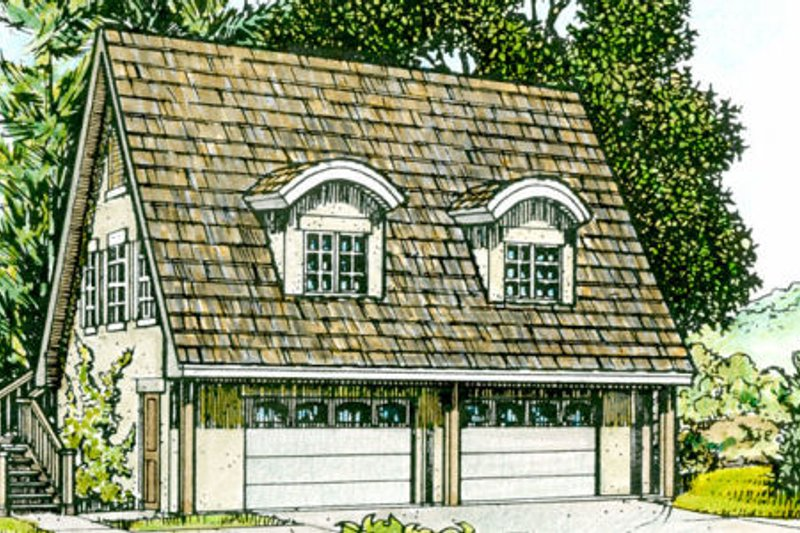 Cottage Style House Plan - 1 Beds 1 Baths 686 Sq/Ft Plan #140-106 Exterior - Front Elevation
