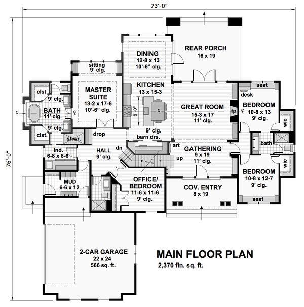 Craftsman Floor Plan - Main Floor Plan Plan #51-570