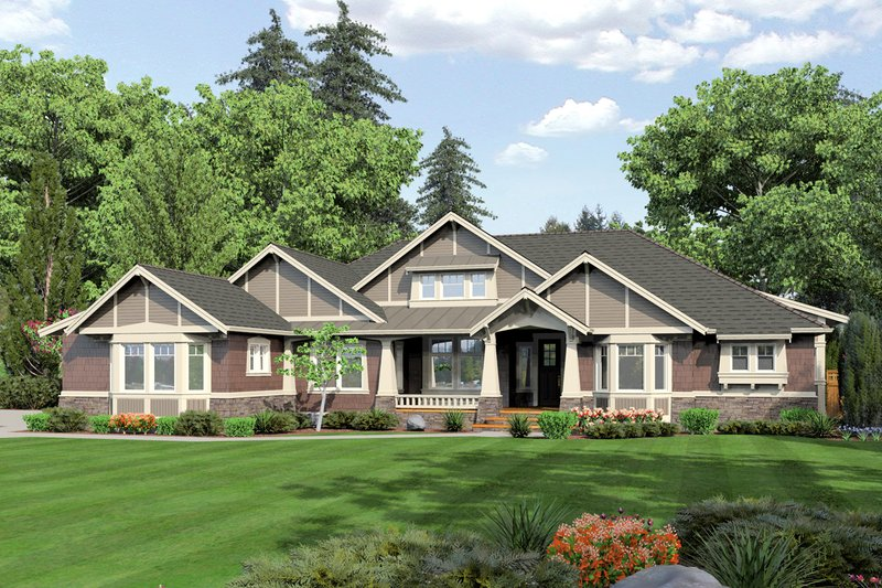 Craftsman Style House Plan - 3 Beds 3 Baths 3075 Sq/Ft Plan #132-205 Exterior - Front Elevation