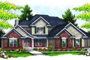 Traditional Style House Plan - 4 Beds 3.5 Baths 2596 Sq/Ft Plan #70-626 Exterior - Front Elevation