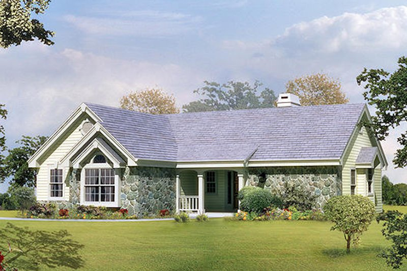 Ranch Style House Plan - 2 Beds 1.5 Baths 1248 Sq/Ft Plan #57-304 Exterior - Front Elevation