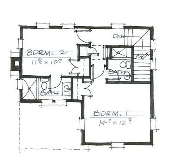 Cottage Style House Plan - 3 Beds 3 Baths 1841 Sq/Ft Plan #464-9 Floor Plan - Upper Floor Plan