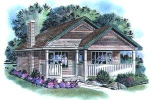 Cottage Exterior - Front Elevation Plan #18-1044