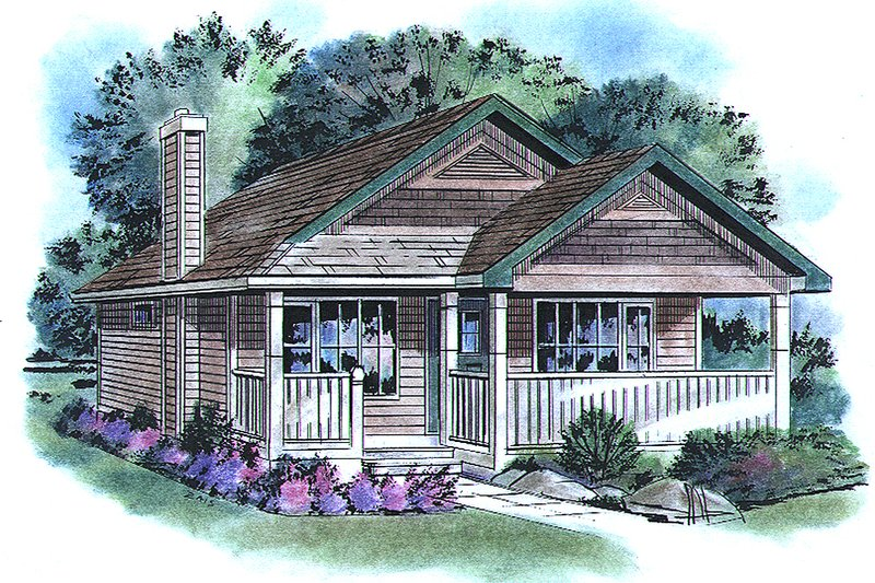 Cottage Exterior - Front Elevation Plan #18-1044