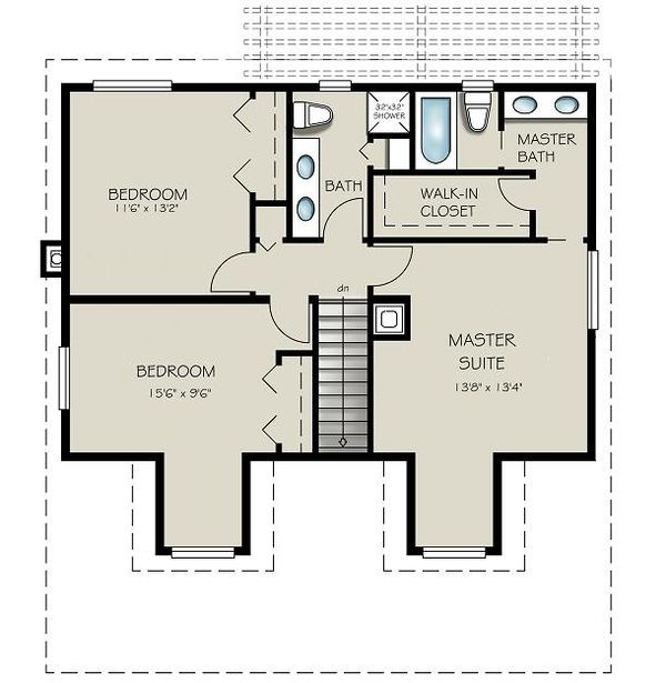 Country Floor Plan - Upper Floor Plan Plan #427-1