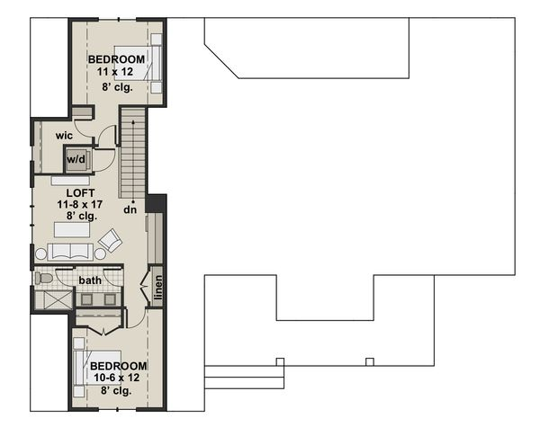 Architectural House Design - Farmhouse Floor Plan - Upper Floor Plan #51-1140