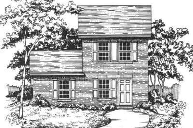 Traditional Style House Plan - 3 Beds 2 Baths 1136 Sq/Ft Plan #30-191 Exterior - Front Elevation