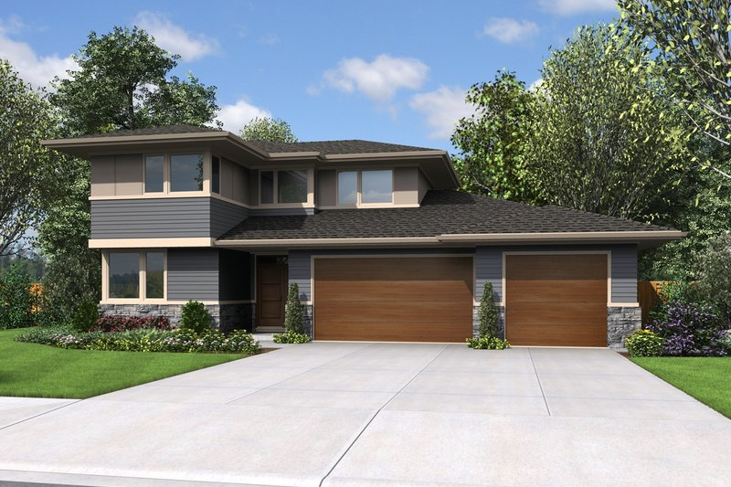 Home Plan - Contemporary Exterior - Front Elevation Plan #48-1005