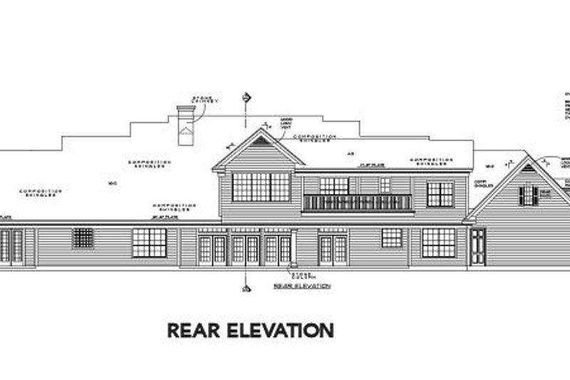 Colonial Exterior - Rear Elevation Plan #61-387 - Houseplans.com