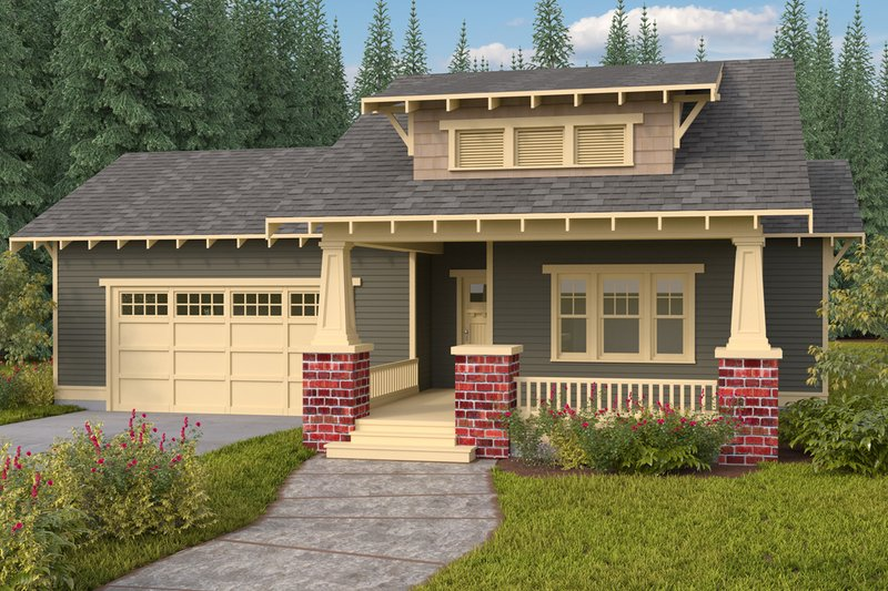 Bungalow Style House Plan - 3 Beds 2 Baths 1792 Sq/Ft Plan #434-7 Exterior - Front Elevation