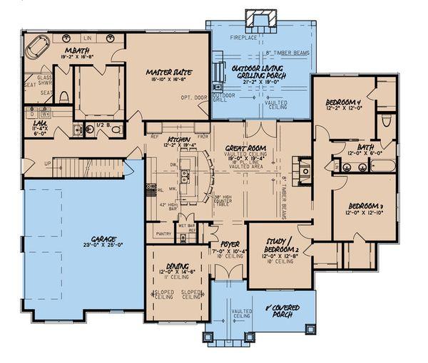 Dream House Plan - Craftsman Floor Plan - Main Floor Plan #923-172