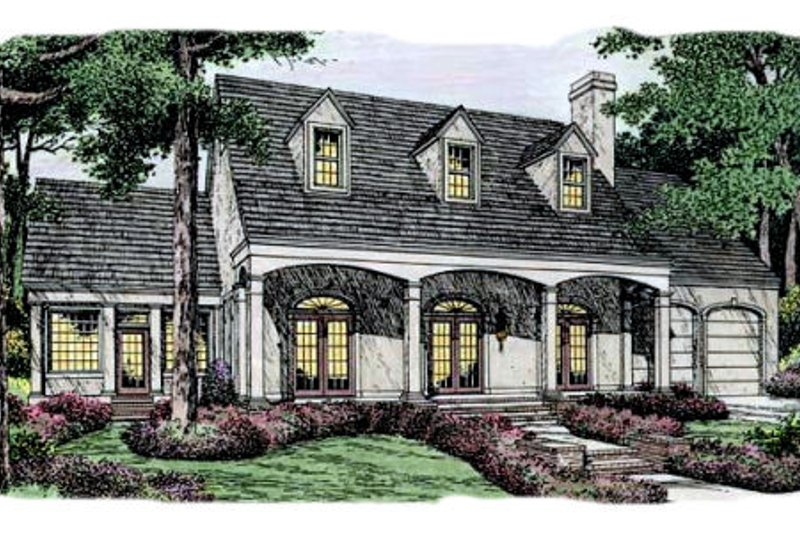 Southern Exterior - Front Elevation Plan #406-146