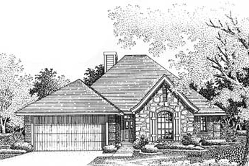 European Style House Plan - 3 Beds 2 Baths 1573 Sq/Ft Plan #310-570 Exterior - Front Elevation
