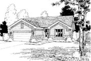 Ranch Style House Plan - 1 Beds 1.5 Baths 1593 Sq/Ft Plan #20-456 Exterior - Front Elevation