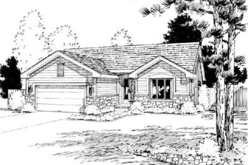 Ranch Exterior - Front Elevation Plan #20-456