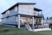 Contemporary Style House Plan - 4 Beds 4.5 Baths 4090 Sq/Ft Plan #1066-35 Exterior - Rear Elevation