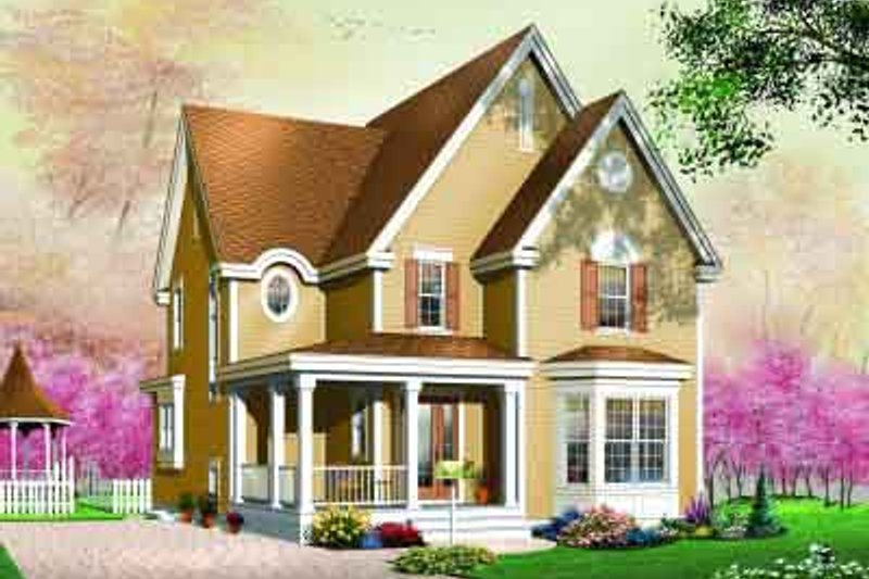 Country Style House Plan - 3 Beds 1.5 Baths 1744 Sq/Ft Plan #23-551 Exterior - Front Elevation