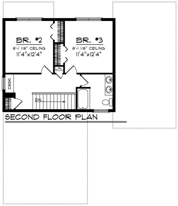 Craftsman Floor Plan - Upper Floor Plan Plan #70-1265