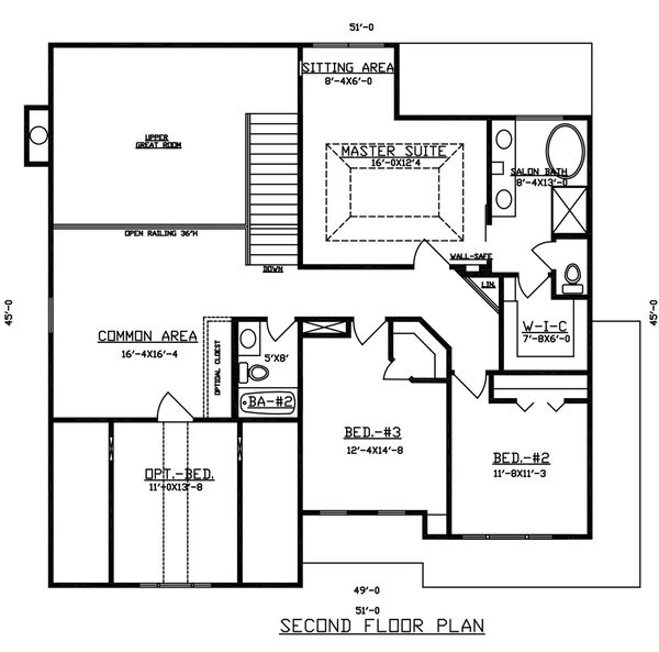Dream House Plan - Traditional Floor Plan - Upper Floor Plan #405-341