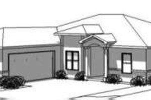 Adobe / Southwestern Exterior - Front Elevation Plan #24-183