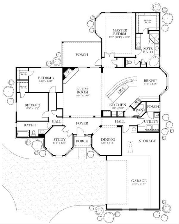 Traditional Floor Plan - Main Floor Plan Plan #80-157