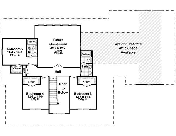 Country Floor Plan - Upper Floor Plan Plan #21-269