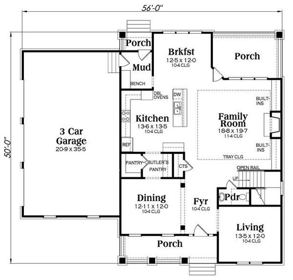 Craftsman Floor Plan - Main Floor Plan Plan #419-261