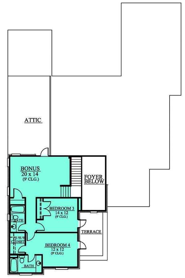 European Floor Plan - Upper Floor Plan Plan #430-112