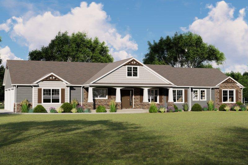 Architectural House Design - Craftsman Exterior - Front Elevation Plan #1064-72