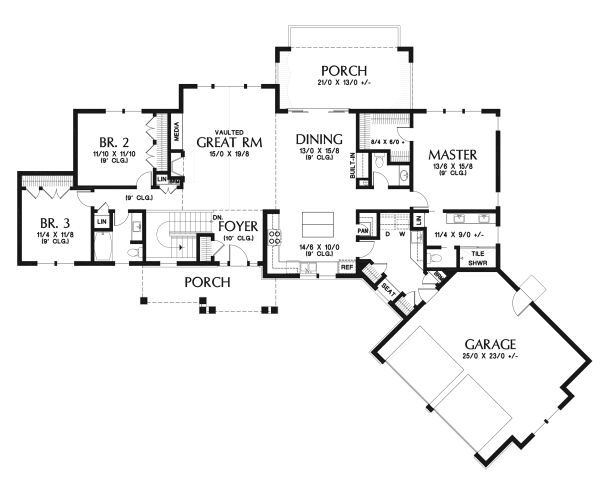 House Plan Design - Ranch Floor Plan - Main Floor Plan #48-950